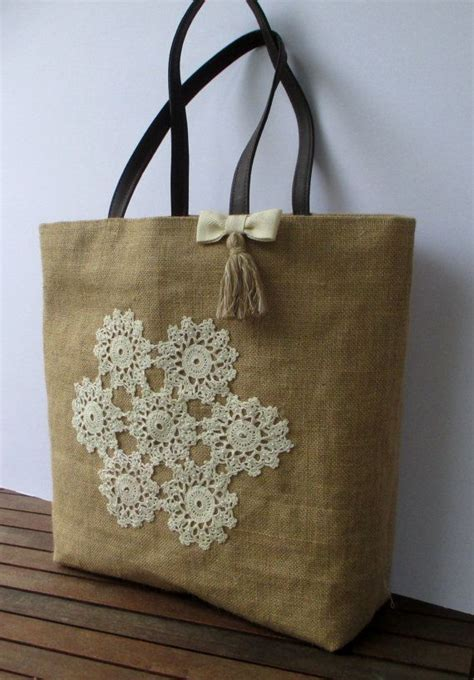 Handmade Jute Bags - sold handmade jute tote bag decorated with crochet