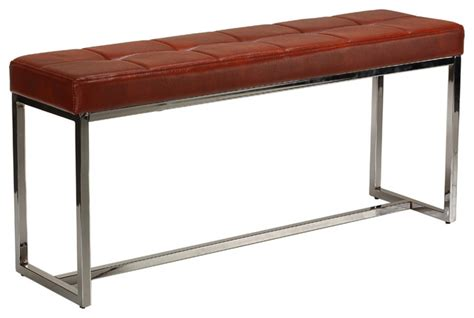Narrow Storage Bench Livio Contemporary Narrow Tufted Bench Brown Leather Like Vinyl Transitional Accent And