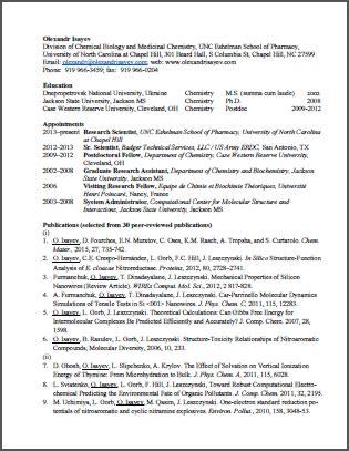 nsf biosketch template olexandr isayev cv