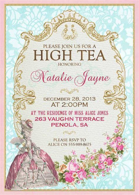 templates for high tea invitations marie antoinette high tea invitation french tea party for