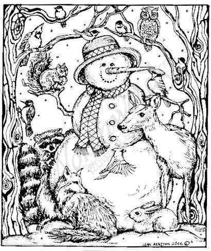 winter coloring pages adults northwoods rubber sts wood mounted snowman and