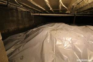 covering basement crawl space floor with plastic vapor barrier