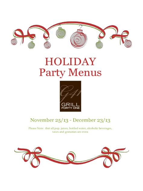 holiday menu template 3 free templates in pdf word
