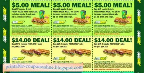 printable subway coupons printable coupons 2017 subway coupons