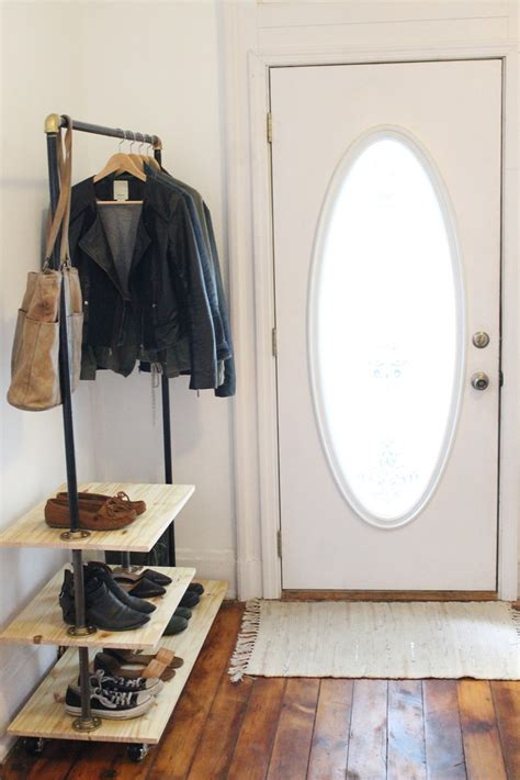 diy industrial shoe and coat rack inspired by urban