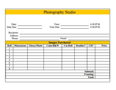 photographers invoice template photography invoice template 7 free sles exles