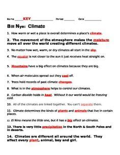 Bill Nye Climate Worksheet by Moving Mountains Free Worksheet For