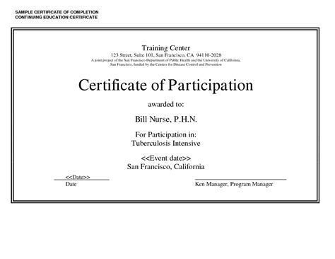 continuing education certificate template sle certificate of completion continuing education