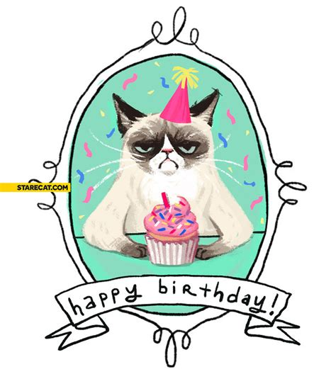 printable birthday cards with cats grumpy cat happy birthday card starecat com