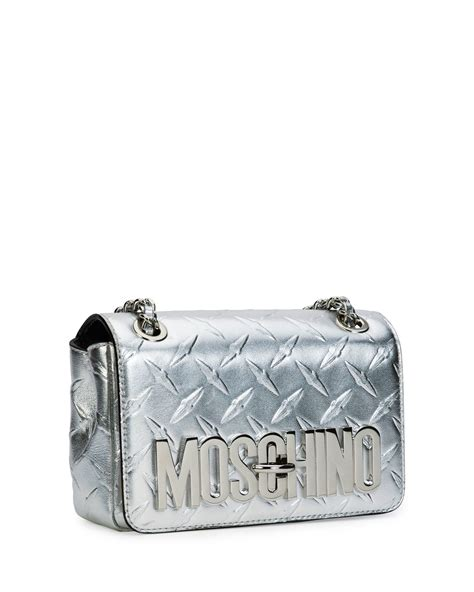 Ficcare Metallic Leather Bags by Moschino Logo Metallic Leather Shoulder Bag In Metallic Lyst