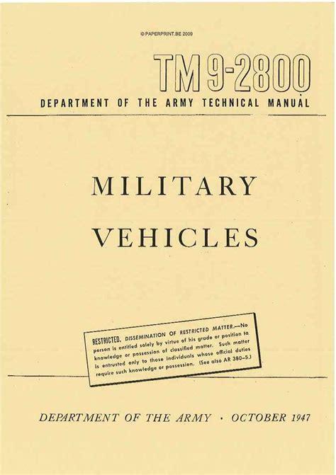 Tm 9 2800 1947 Us Military Vehicles Paperprint Wwii