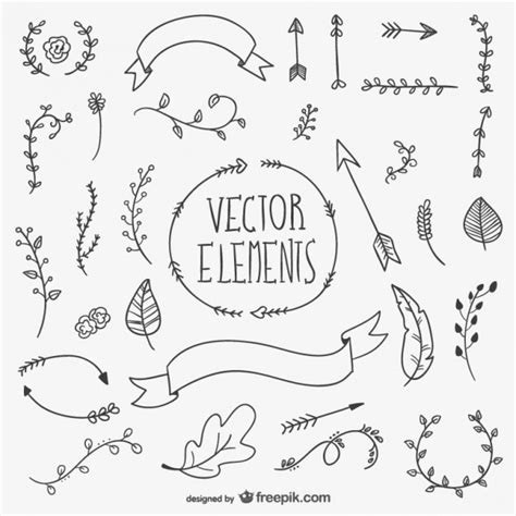 free font design elements black hand drawn boho elements vector free download