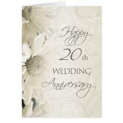 white flowers happy 20th wedding anniversary card zazzle
