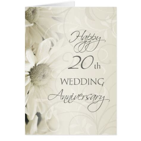 20th Wedding Anniversary Card Husband by White Flowers Happy 20th Wedding Anniversary Card Zazzle
