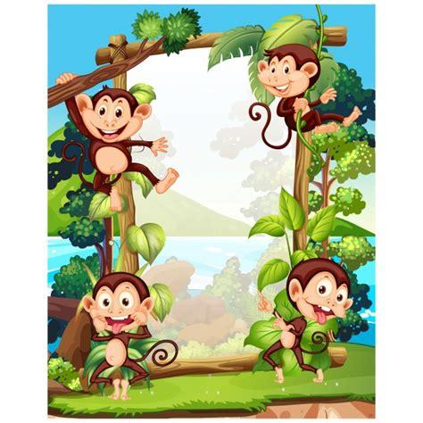 monkey background monkeys background design vector premium