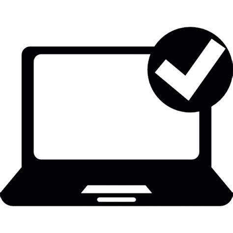 check open open laptop computer with check sign icons free