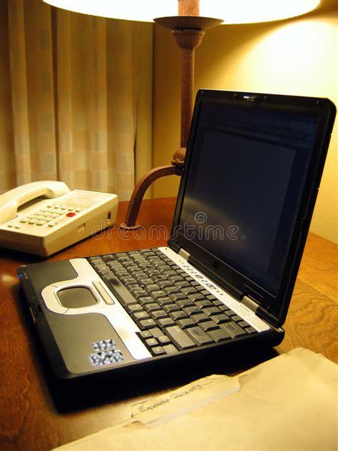 hton inn lap desk laptop on hotel room desk royalty free stock image image