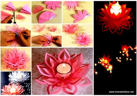 How To Make A Paper Lotus Step By Step - creative diy paper lotus candlestick project included