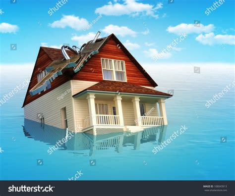 Sinking Real Estate house sinking water real estate housing stock illustration 108043913