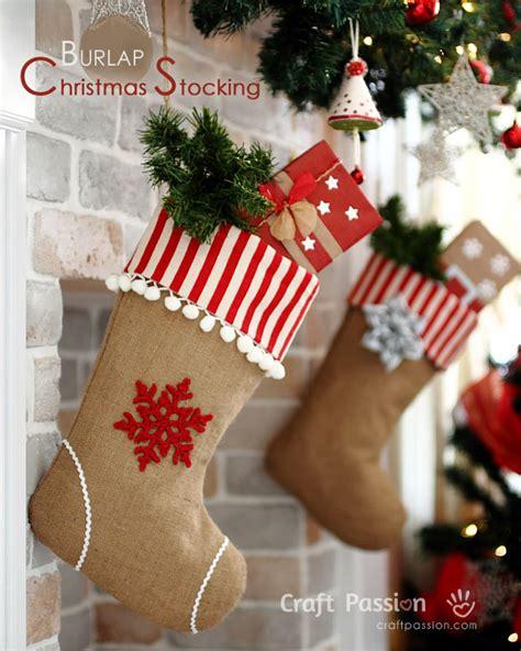 burlap christmas stocking  sew pattern craft passion