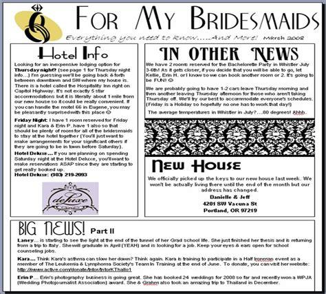 bridesmaid newsletter template danielleweddingbio