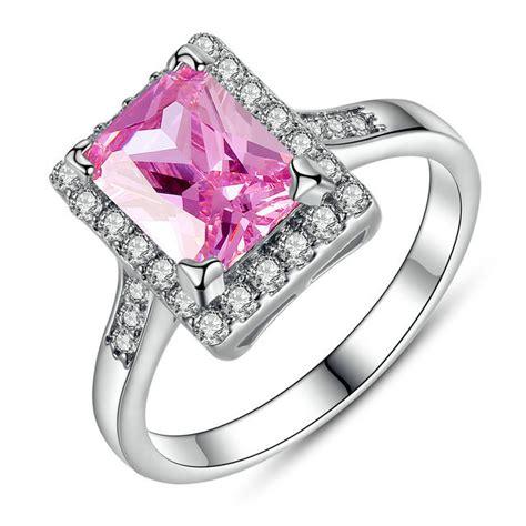 Anting Anting Zircon kalung anting cincin wanita zircon pink