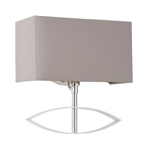 tramini wbsil envisage silver wall light faux silk shade