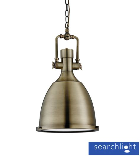 Pendant Light With Diffuser Searchlight Industrial Ceiling Pendant Light Antique Brass With Frosted Glass Diffuser