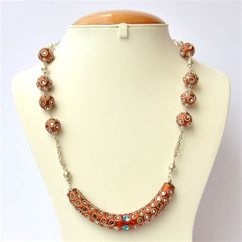 Handmade Bead Necklace - shining copper handmade necklace studded with mirrors