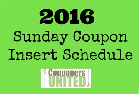 printable 2015 coupon insert schedule sunday coupon insert schedule 2016