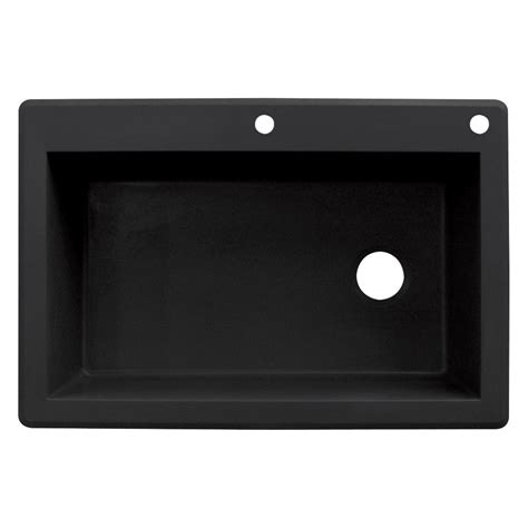 black single bowl kitchen sink transolid radius drop in granite 33 in 2 hole single