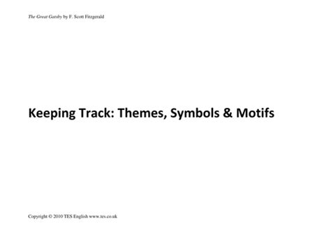 themes in the great gatsby pdf the great gatsby keeping track themes symbols by