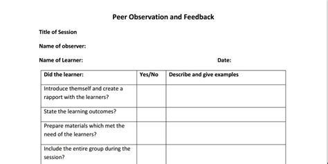 observation feedback form peer observation forms for micro lessons aid