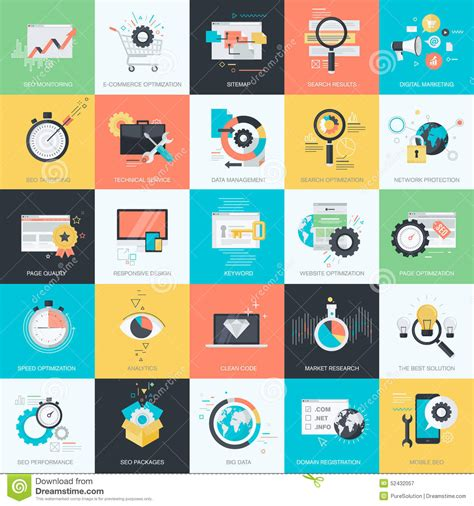 set of flat design style icons for seo web development