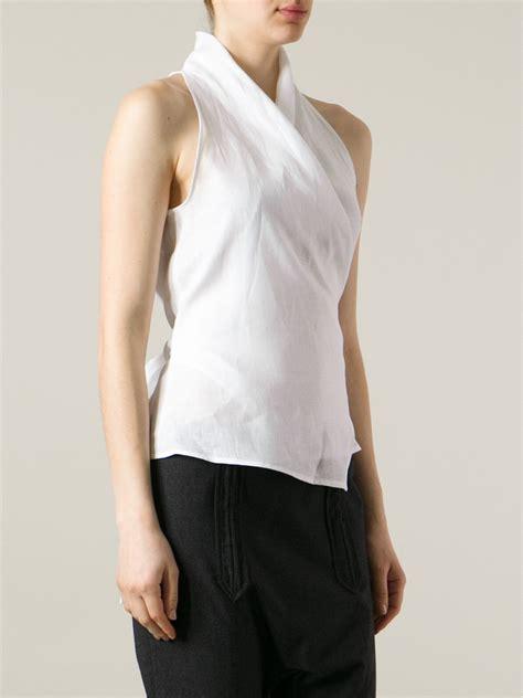 Tshirt Kaos Wtaps max mara wrap blouse in white lyst