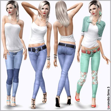 sims 3 outfits block patchwork jeans with belt by lore at lorandia sims 3