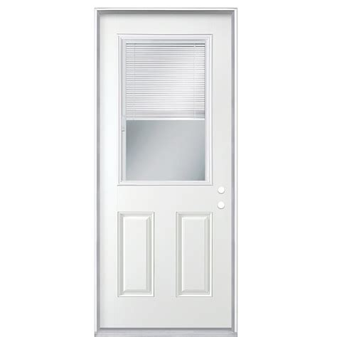 Exterior Door Blinds Shop Reliabilt Blinds Between The Glass Half Lite Prehung Inswing Steel Entry Door Common 36