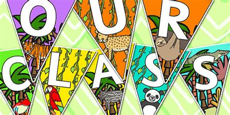 our class s t e m class 2 0 welcome to our class bunting jungle themed welcome bunting