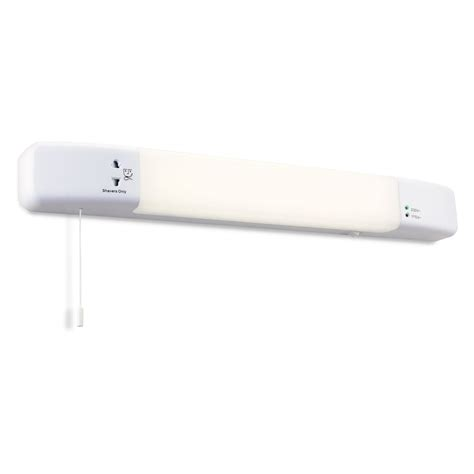 Firstlight Slimline Led Bathroom Wall Light In White Bathroom Light With Shaver Socket