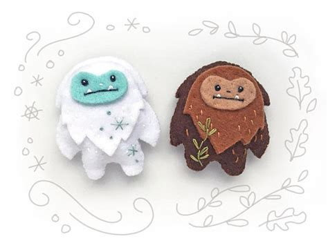 felt yeti pattern mini felt yeti and sasquatch plush pdf sewing pattern felt