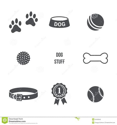 puppy stuff stuff set stock vector image of icon kennel animal 53430042