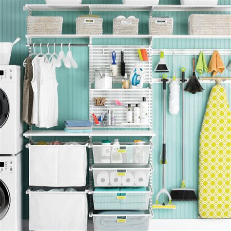 White Elfa Utility Deluxe Laundry Room The Container Store Laundry Room Storage Systems