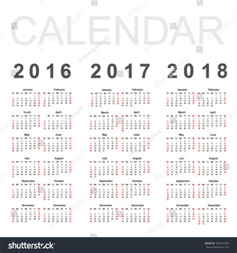 Calendar 2017 And 2018 Vector Calendar 2016 2017 2018 Year Vector Stock Vector 335014760