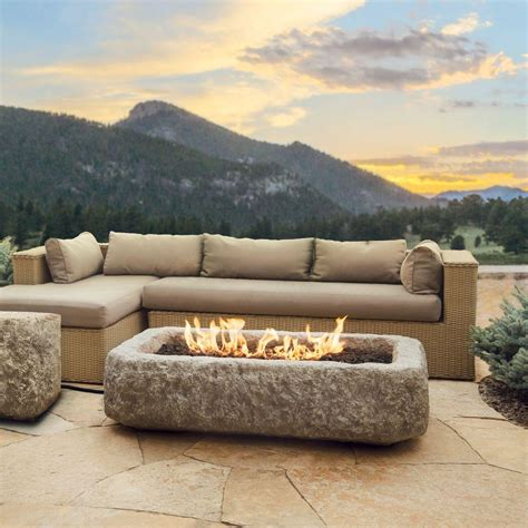rectangle fire pit real flame antique stone 59 in rectangle propane gas fire