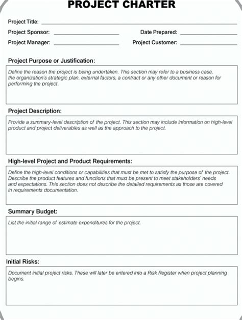 pmi business template project charter template pdf ppt free