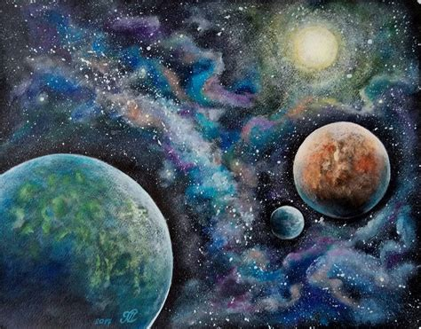 acrylic painting space space painting acrylic painting on watercolor paper