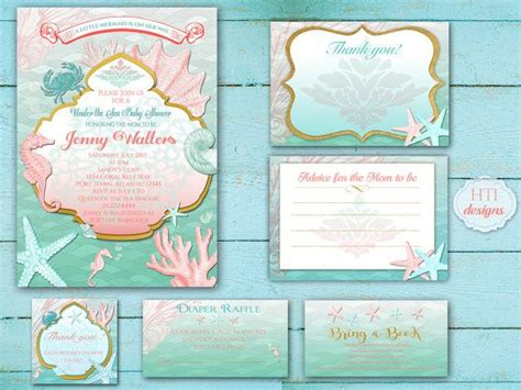 printable invitation kits baby shower baby shower invitation kit suite beach mermaid under the