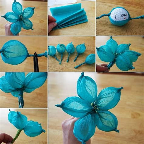 Tissue Paper Flower Craft Ideas - crafts made from tissue paper