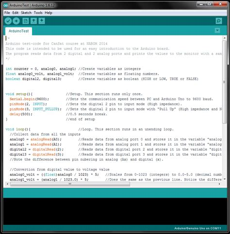 code arduino uno software start up and test of arduino uno narom