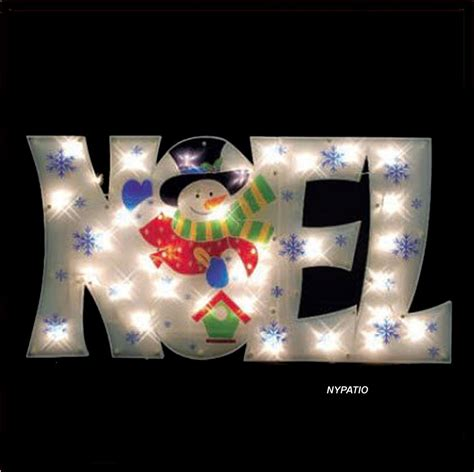 36 Quot Lighted Noel Sign Snowman Outdoor Christmas 50 Lights Lighted Decorations For Yard